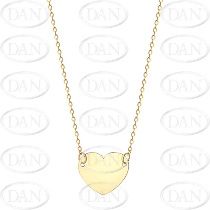 9ct YG Plain Heart Necklace