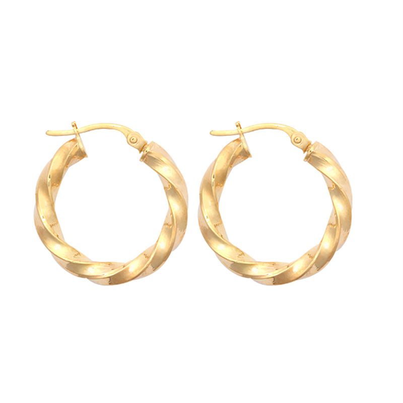9ct Yellow Gold 15mm Plain Twist Hoop Earrings