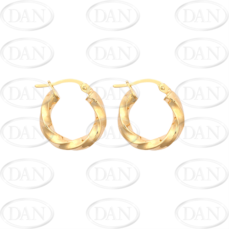 9ct Yellow Gold 10mm Plain Twist Hoop Earrings
