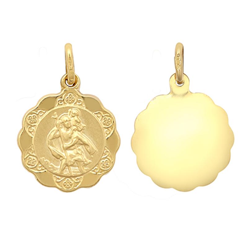 9ct YG St. Christopher Medallion Pendant