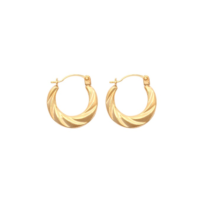 9ct Yellow Gold Round Twist Creole Earrings