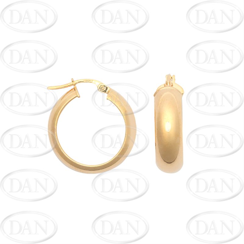 9ct Yellow Gold Plain Round Hoop Earrings