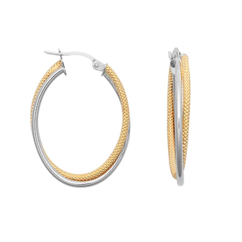 9ct Gold Two Tone Oval Hoop Earrings