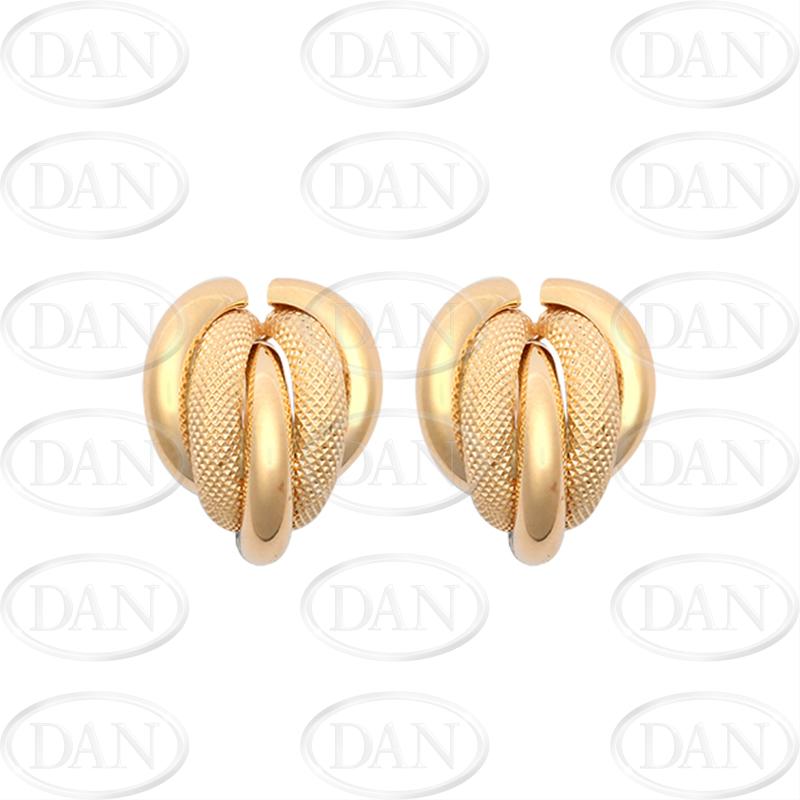 9ct Yellow Gold Twist Plain/Mesh Stud Earrings
