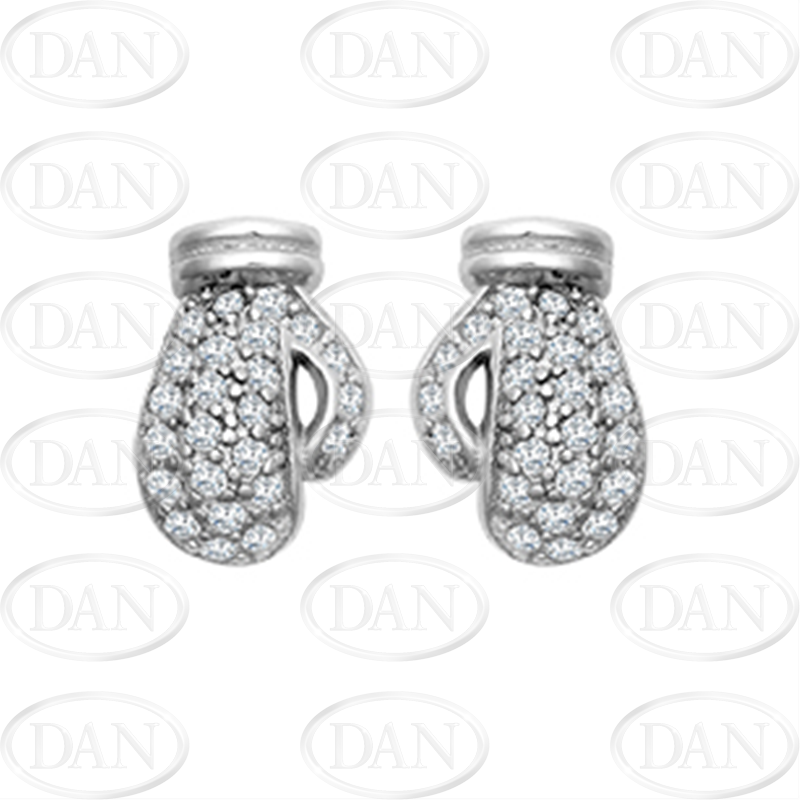 Sterling Silver CZ Boxing Glove Stud Earrings