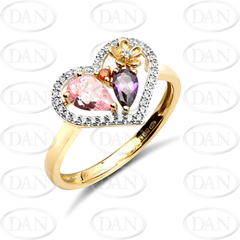 9ct Yellow Gold Heart Cz Ring