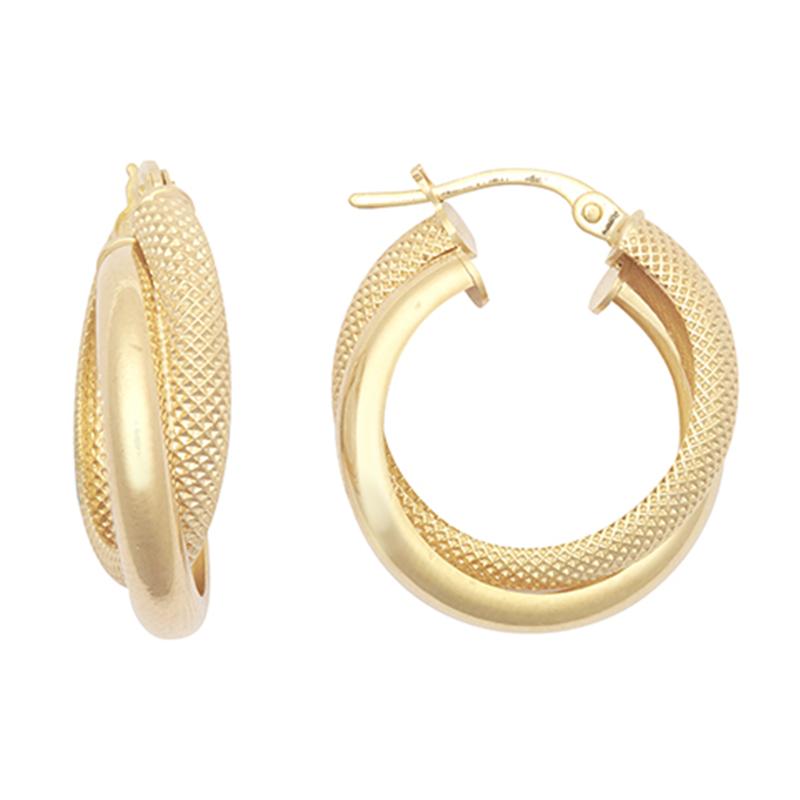 9ct YG Plain/Mesh Hoop Earrings