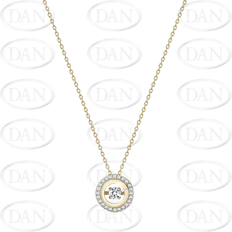 9ct Yellow Gold Dancing Stone Cz Round Pendant & Chain