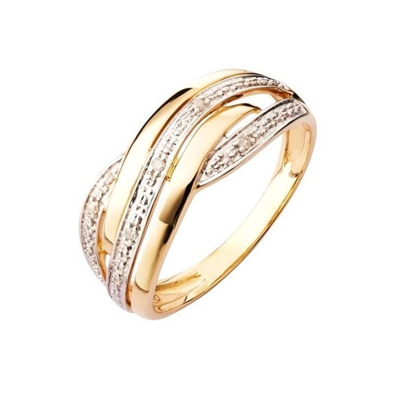 9ct Yellow Gold Diamond Entwined Ring