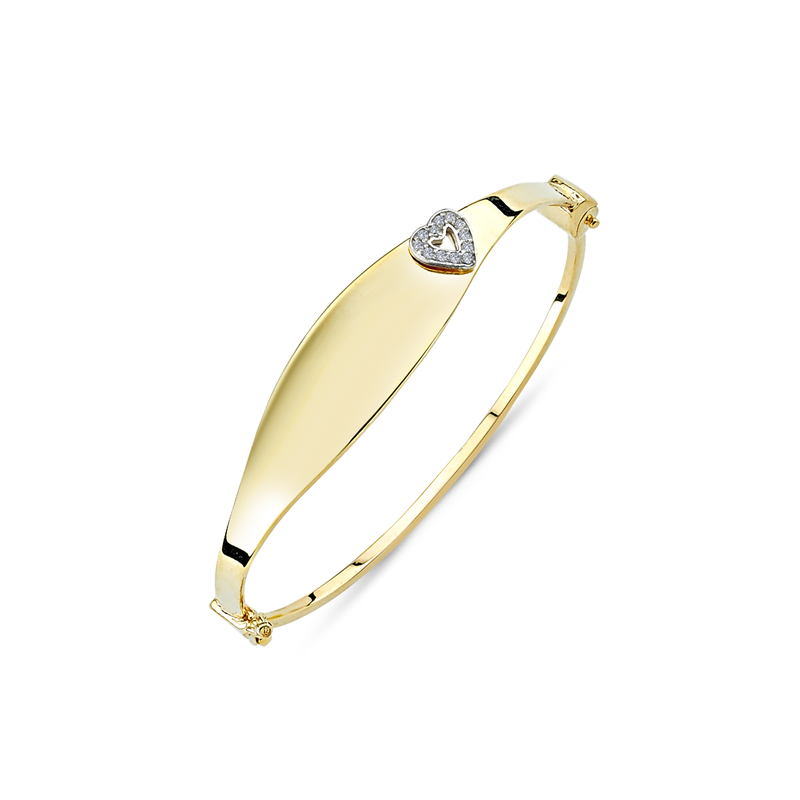 9ct Yellow Gold Baby CZ Heart ID Bangle