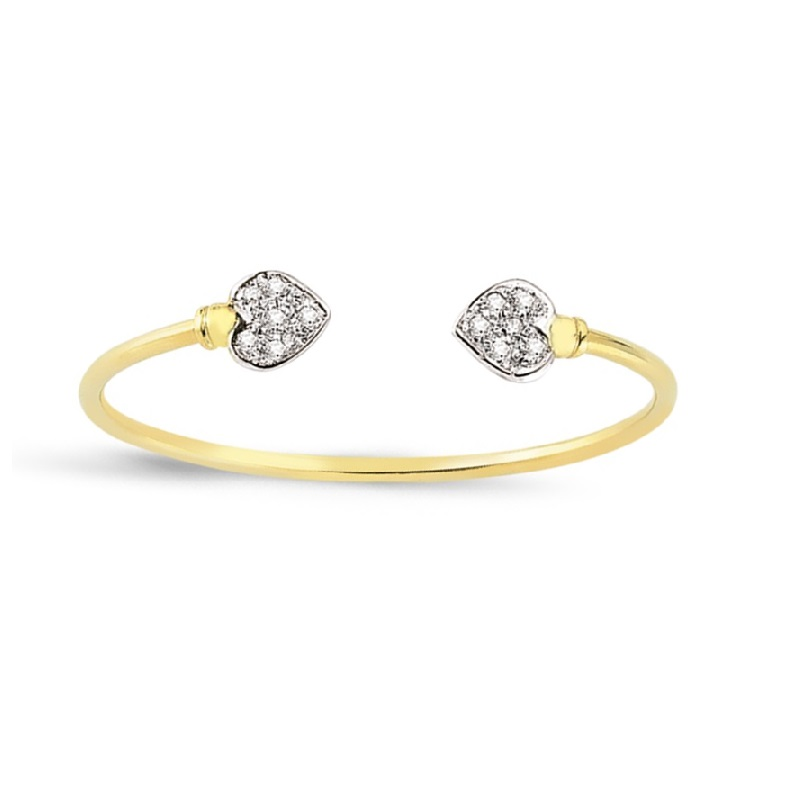 9ct Yellow Gold Heart Cz Kids Solid Bangle.