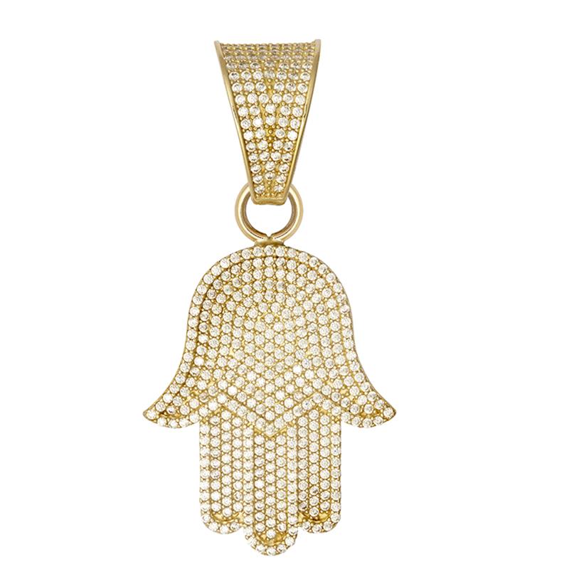 9ct Yellow Gold Large Hamsa Pendant
