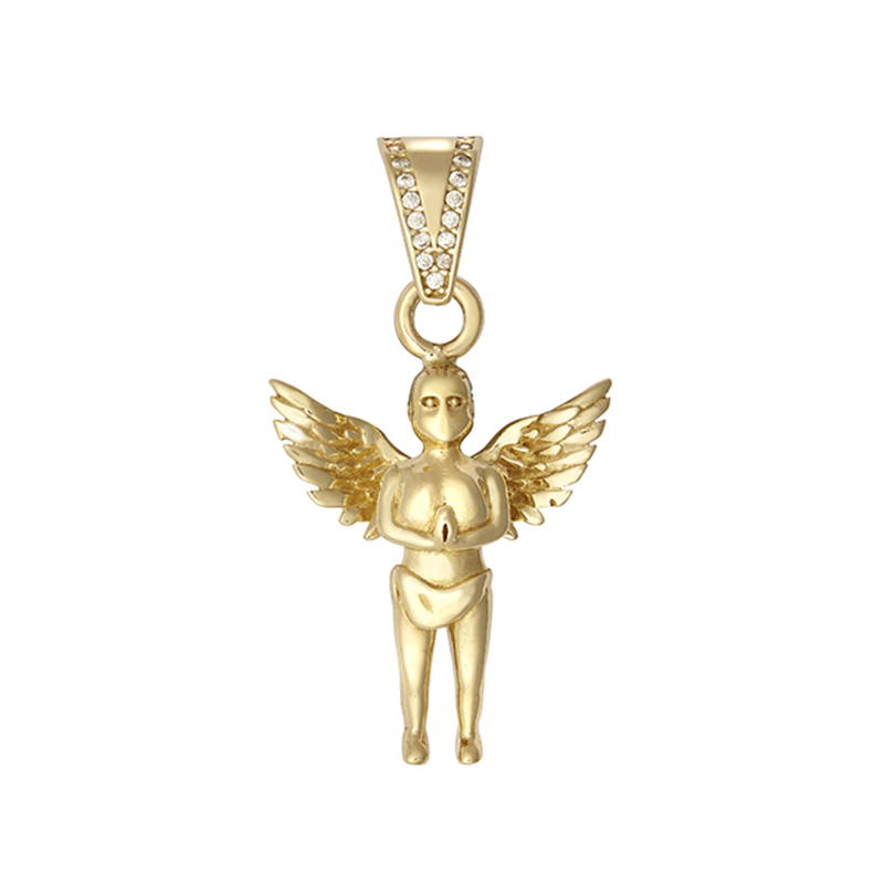 9ct YG Small Angel Pendant