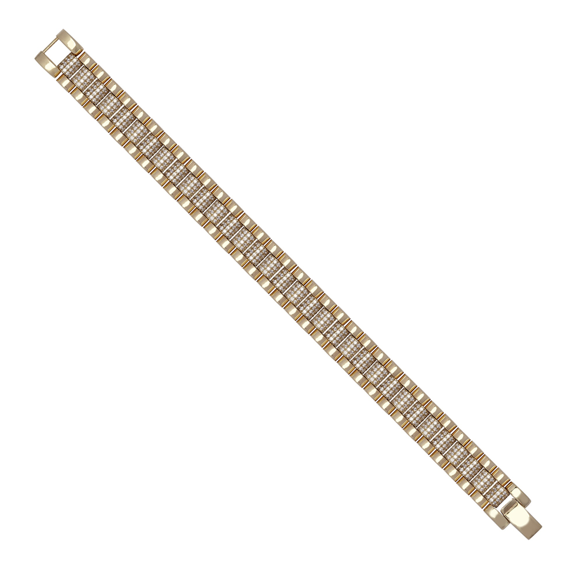 9ct YG Cz Brickwork Bracelet