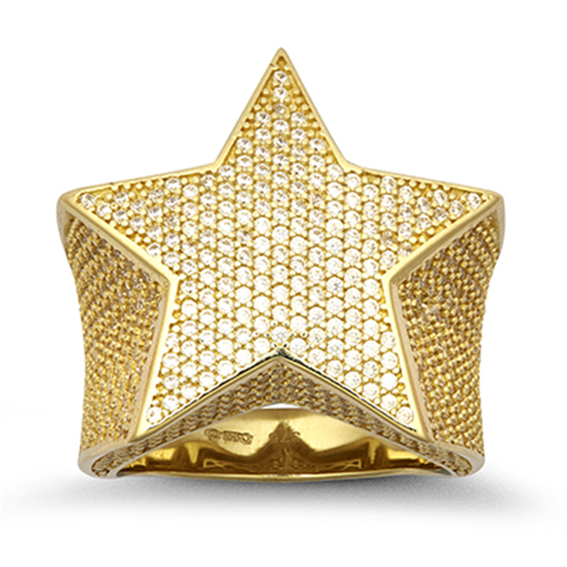 9ct Yellow Gents Gold Cz Star Ring