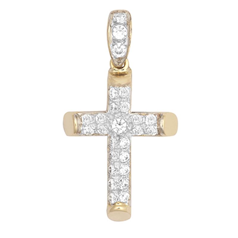 9ct YG Cz Cross Pendant
