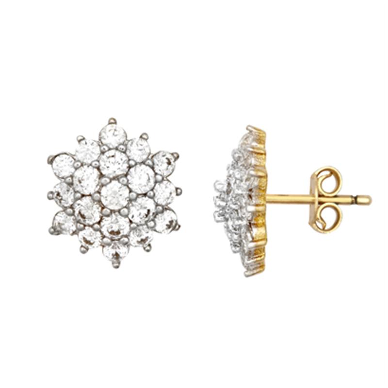 9ct YG Cz Cluster Stud Earrings