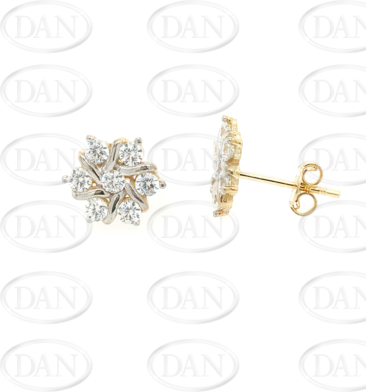 9ct Yellow Gold CZ Cluster Stud Earrings