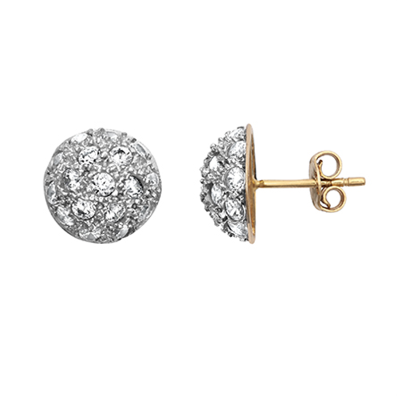 9ct Yellow Gold Cz Dome Stud Earrings