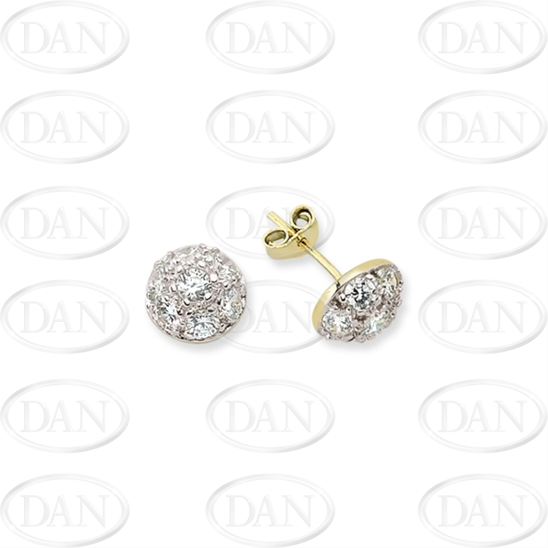 9ct Yellow Gold Round Domed Cz Earrings (Medium)