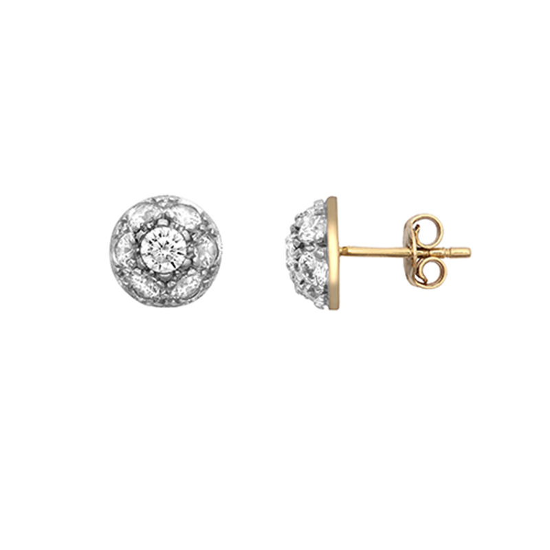 9ct Yellow Gold Round Domed Cz Earrings