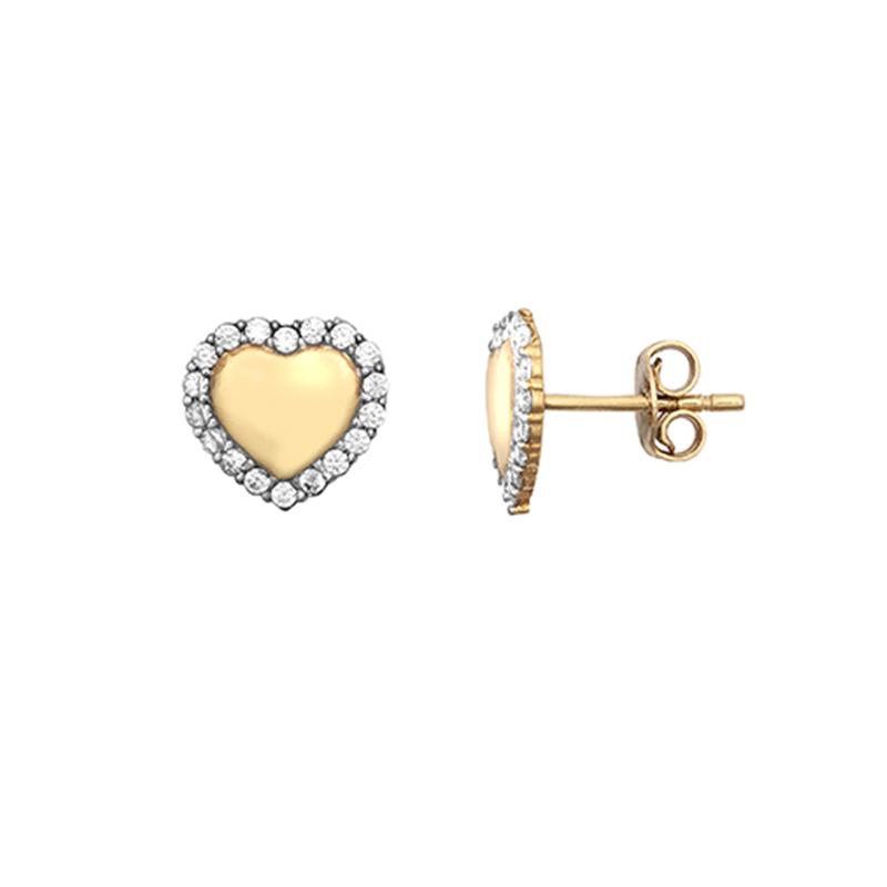 9ct Yellow Gold CZ Heart Stud Earrings