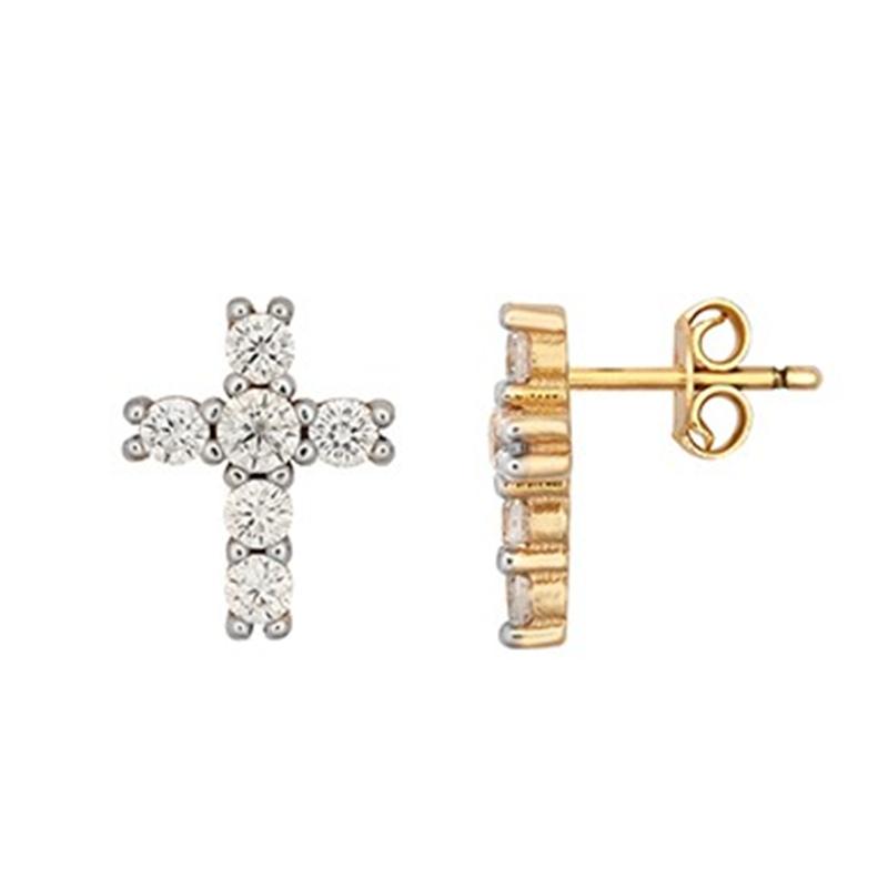 9ct YG Cz Cross Stud Earrings