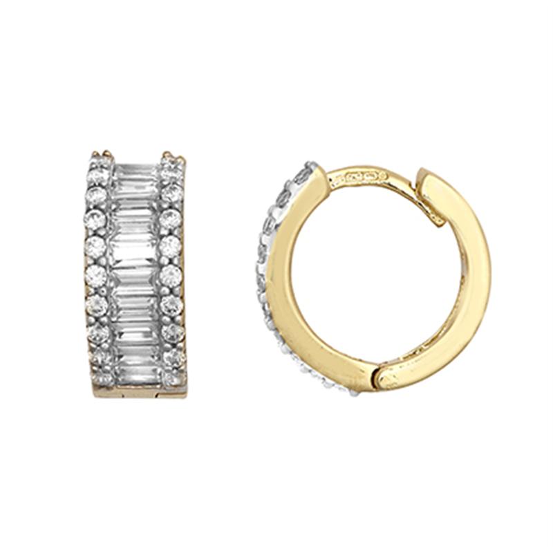 9ct Yellow Gold Cz Huggie Earrings