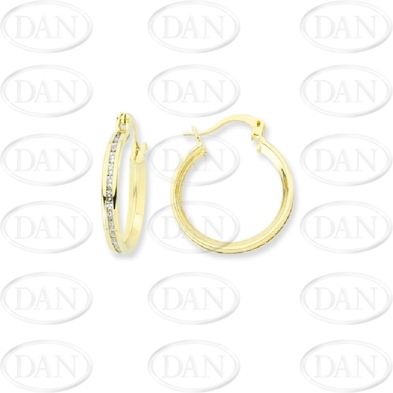 9ct Yellow Gold CZ Hoop Earrings