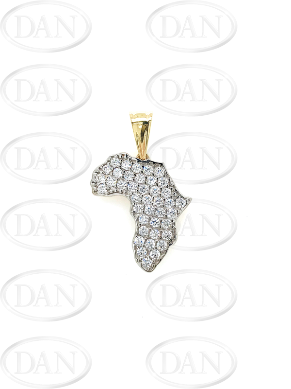 9ct Yellow Gold Cz Africa Map Pendant