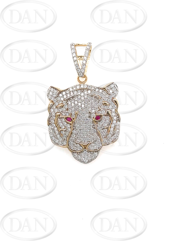 9ct Yellow Gold Cz Tiger Head Pendant