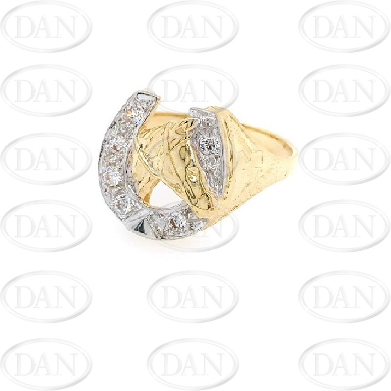 9ct Yellow Gold White Cz Horse Shoe/ Head Ring