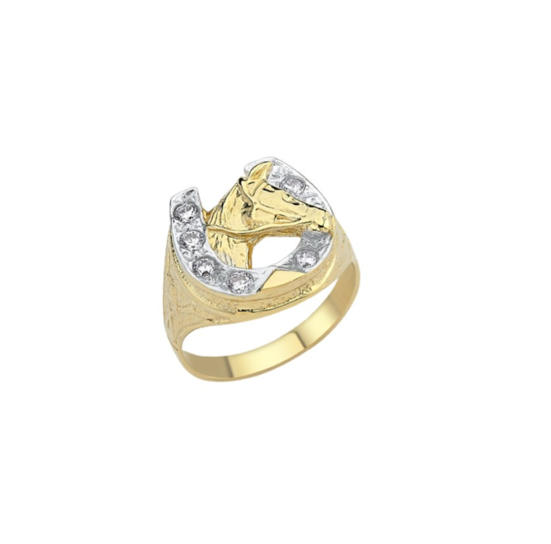 9ct YG Cz Horse Shoe/ Head Ring