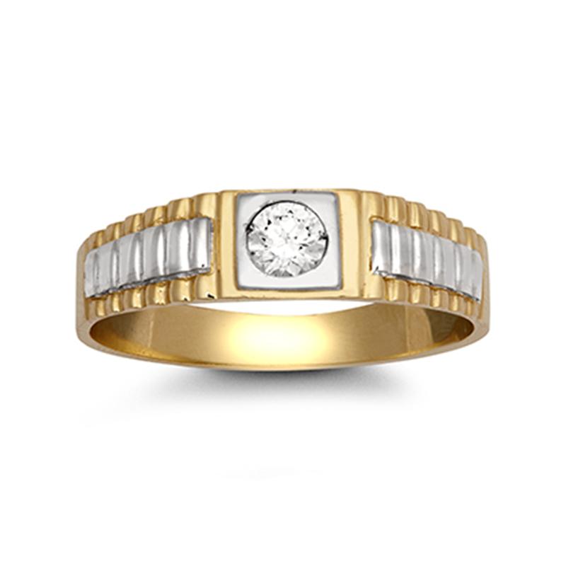 9ct YG CZ Brickwork Sides Ring