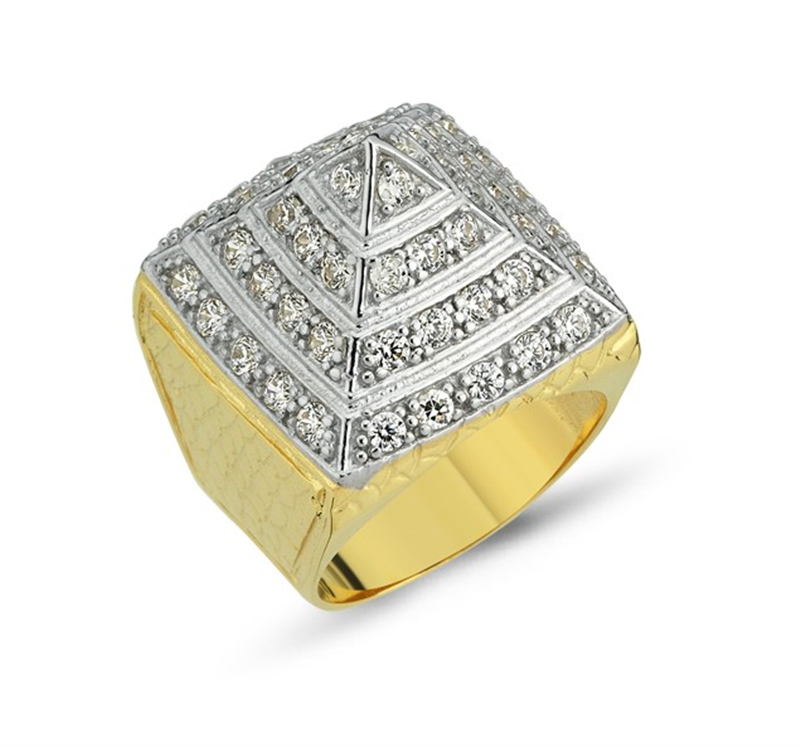 9ct YG Cz Pyramid Ring