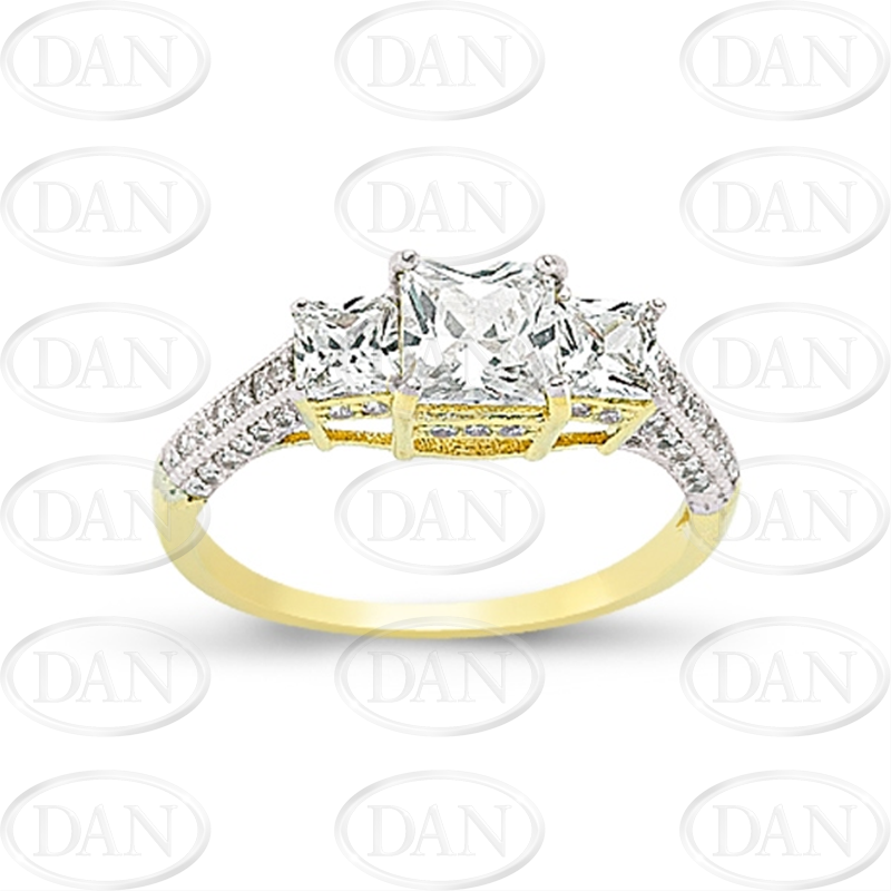 9ct Yellow Gold Cz 3 Stone Ring + Shoulders