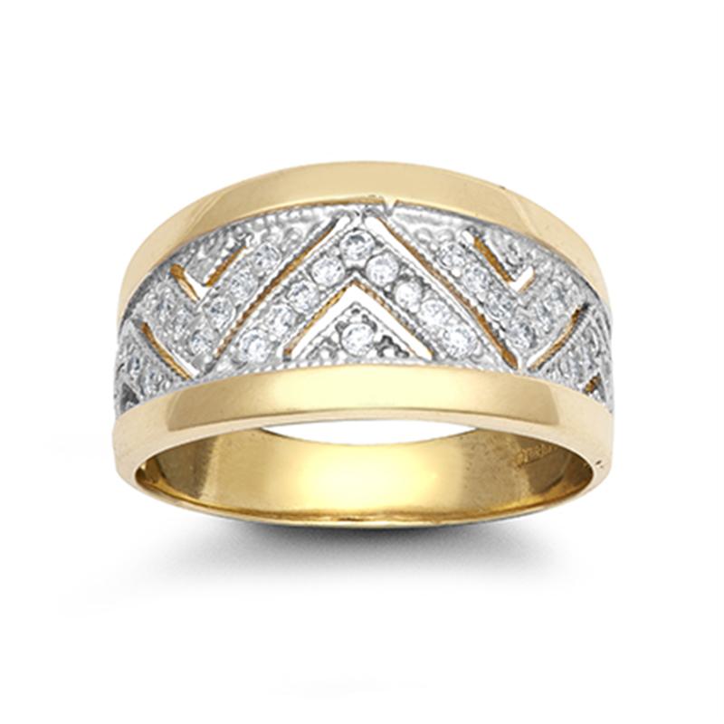 9ct Yellow Gold Cz Ladies Ring