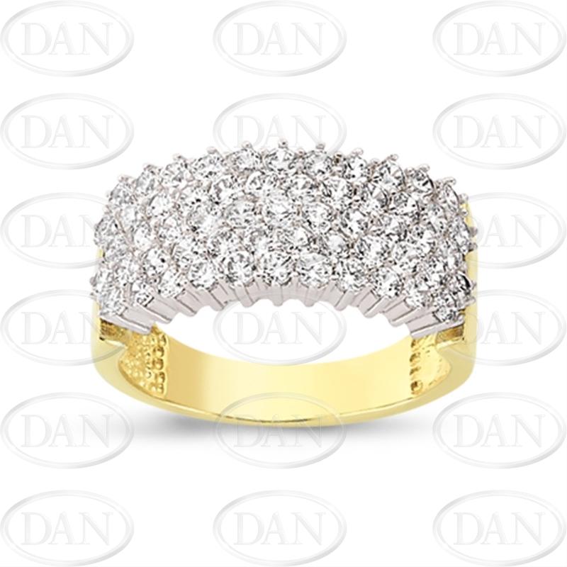 9ct Yellow Gold 5 Row Cz Ladies Ring