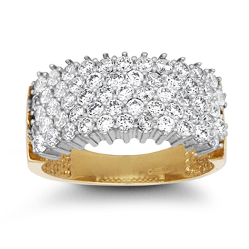 9ct YG 5 Row Cz Ladies Ring