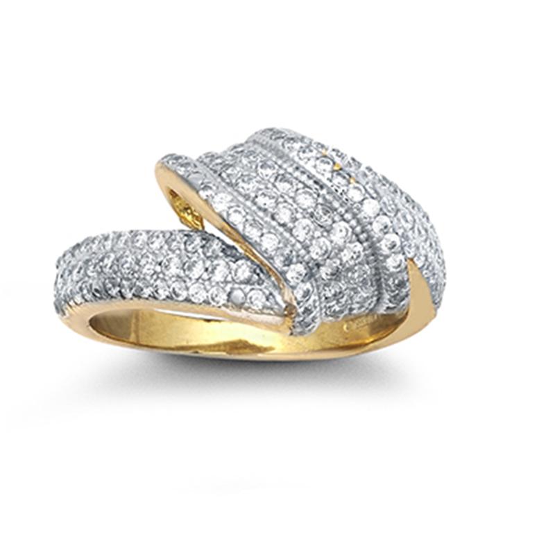 9ct YG Cz Twist Style Ladies Ring