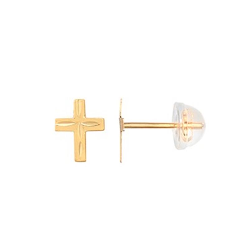 9ct YG Small Diamond Cut Cross Studs