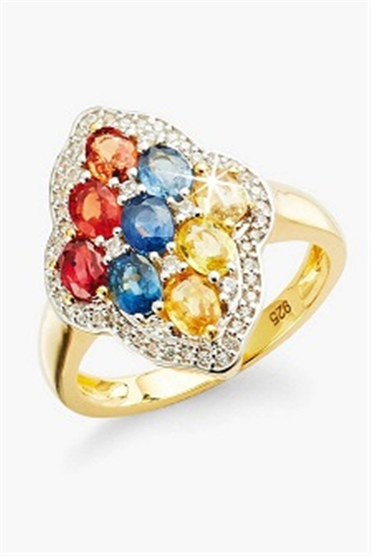 Yellow Gold Plated Sterling Silver 3.7ct Sapphire Dress Ring