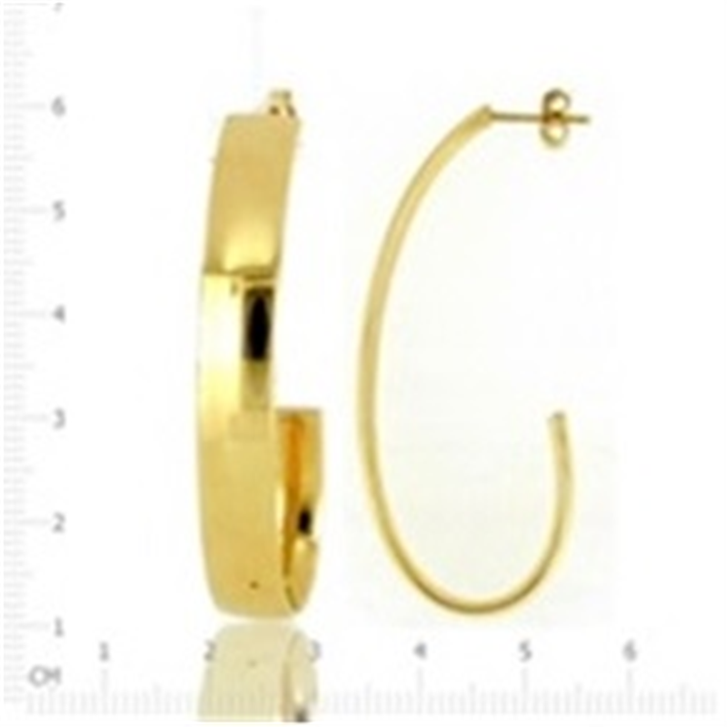 9ct Gold 6mm Tube J Hoop Earrings