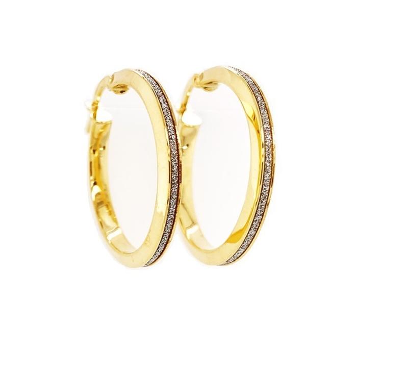 9ct Gold Glitter Bevelled Edge Hoops