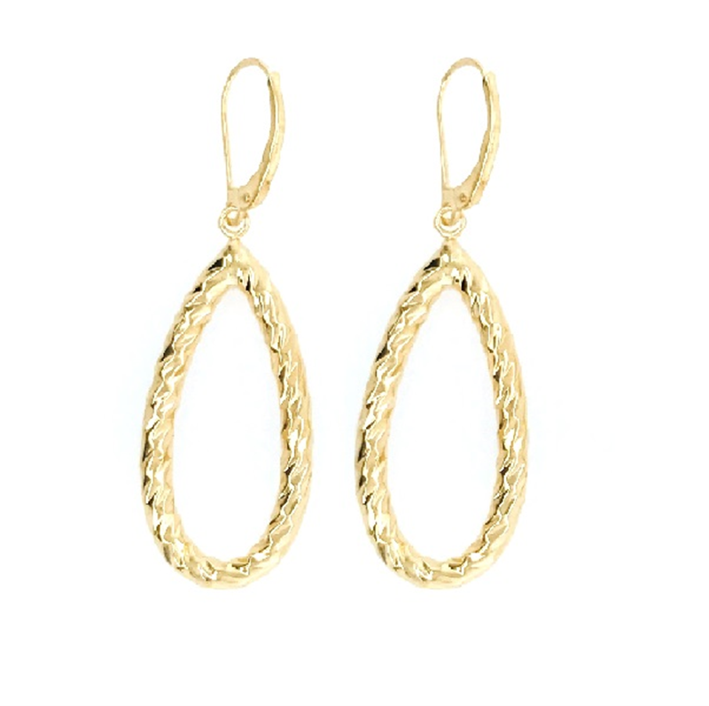 9ct Gold Oval Drop Earrings