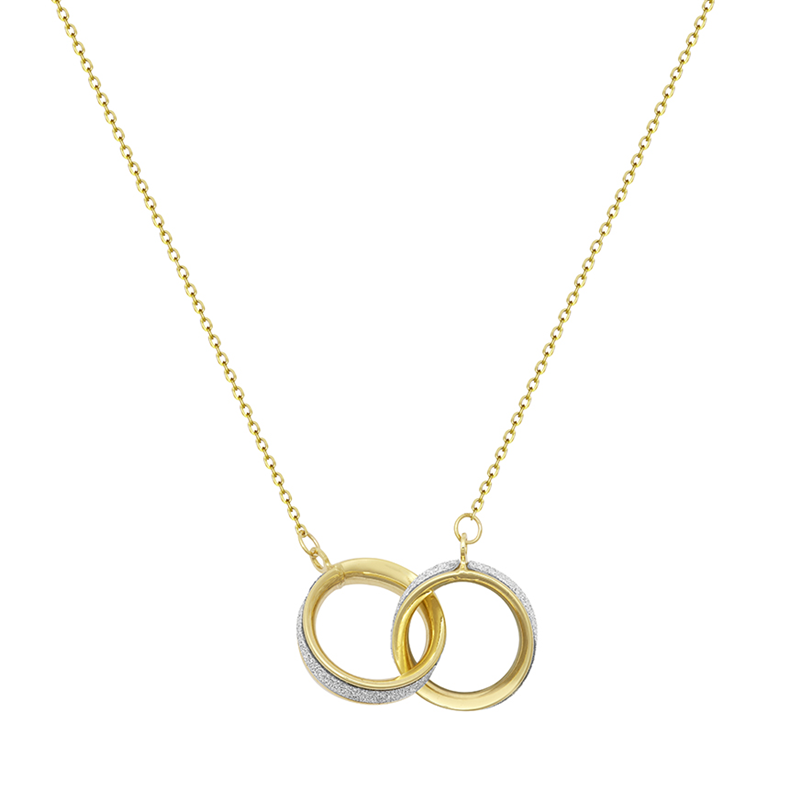 9CT YG Glitter Duo Circle Necklace - 18