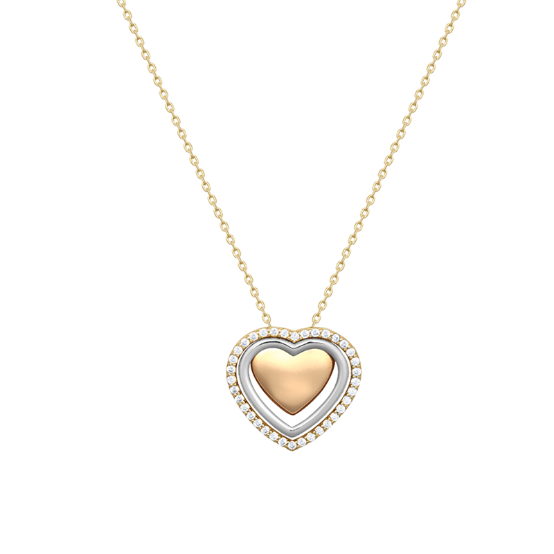 9ct YG Three Colour Heart Necklace