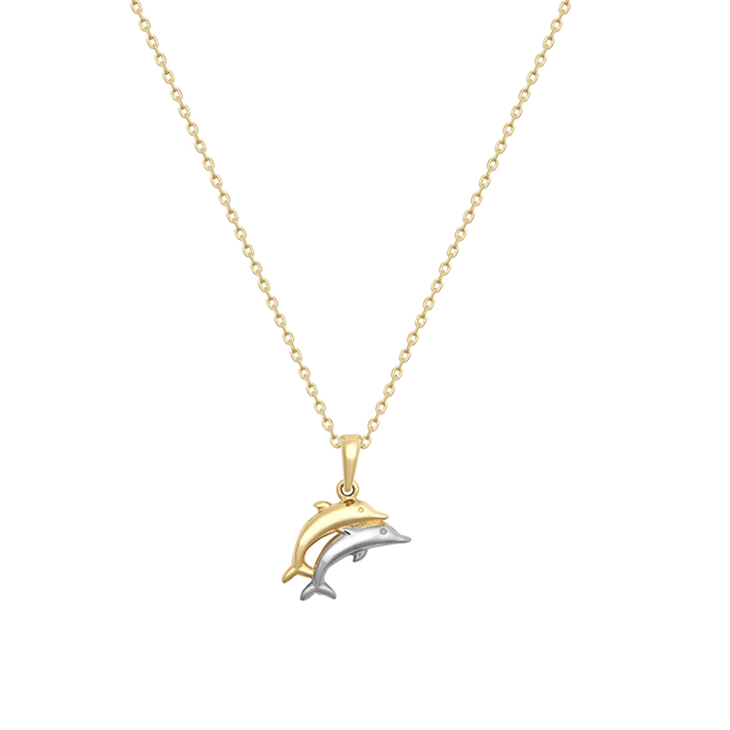 9ct Two Tone  Double Dolphin Pendant With Chain