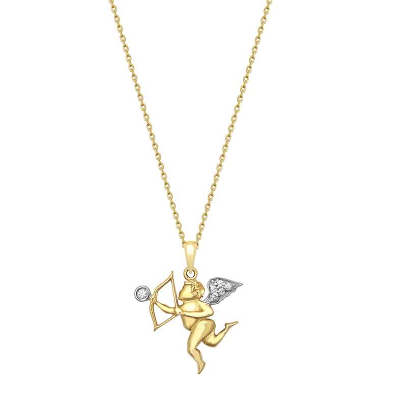 9ct YG Cz Cupid With Bow And Arrow Pendant With Chain