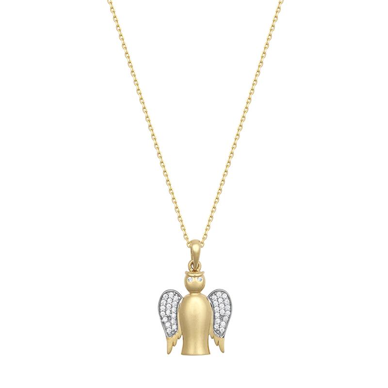 9ct YG Cz Angel Pendant With Chain